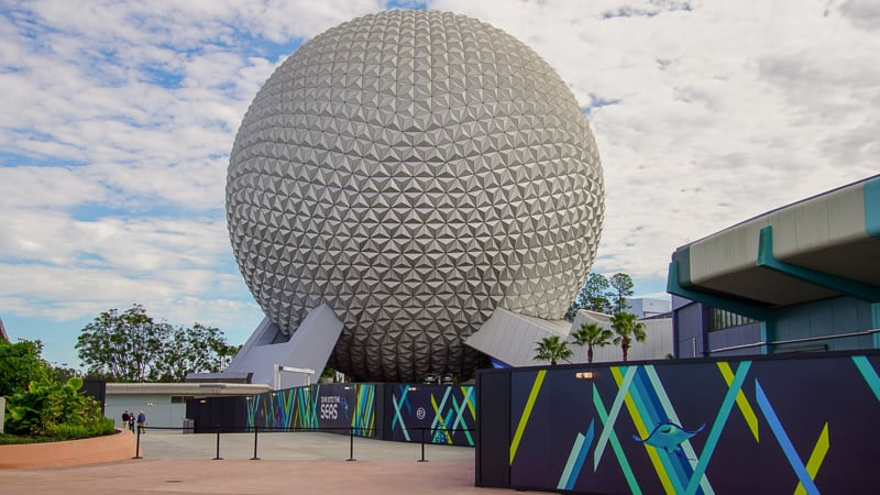 View of Spaceship Earth from New The Seas Walkway Epcot Future World Construction Updates December 2019