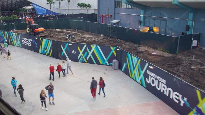 View of New The Seas Walkway from Monorail Epcot Future World Construction Updates December 2019