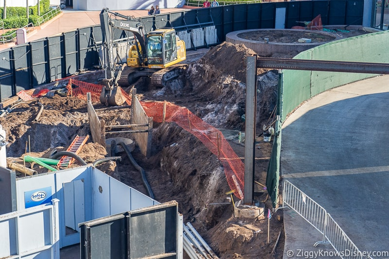 closeup of walkway West of Spaceship Earth Epcot Future World Construction Updates December 2019
