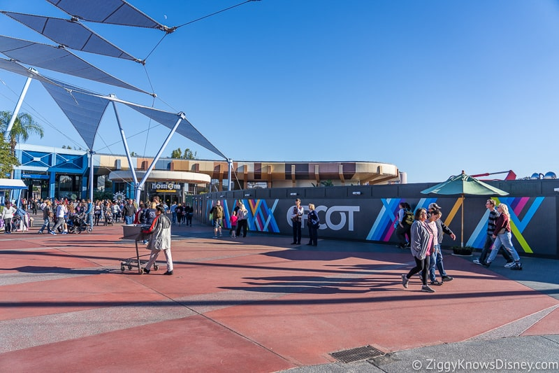 Construction walls in Epcot Future World December 2019