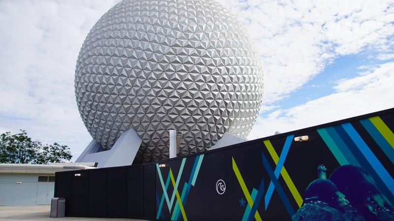 Spaceship Earth from The Seas Walkway Epcot Future World Construction Updates December 2019