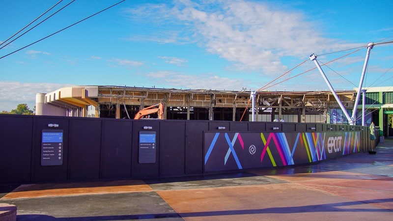 construction walls up in Epcot Future World December 2019