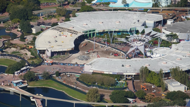 Aerial of Epcot Future World Innoventions demolition