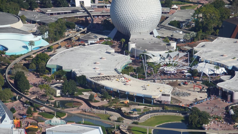 Epcot Future World Aerial photo Construction Update December 2019