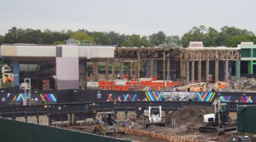 Innoventions West Demolition from Monorail Epcot Future World Construction Update December 2019
