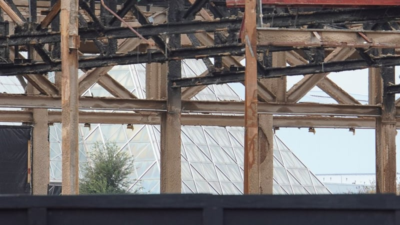 seeing Immagination pavilion through Innoventions Demolition Epcot Future World Construction