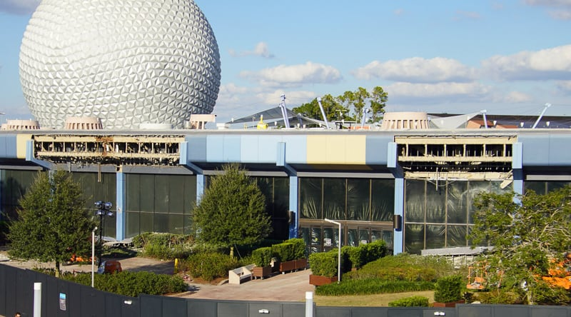 back building of Innoventions West Epcot Future World Construction Update December 2019