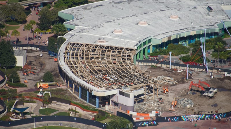 Roof off Innoventions West during demolition in Future World