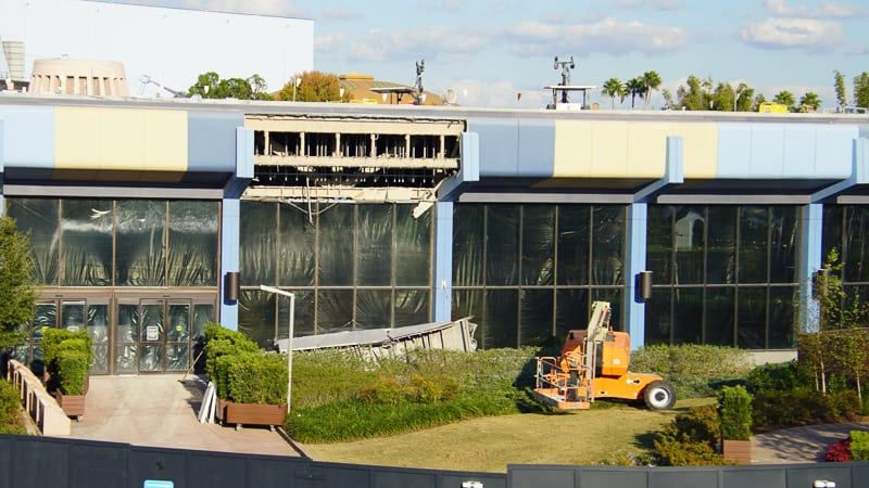 back of Innoventions during demolition Epcot Future World Construction Update December 2019