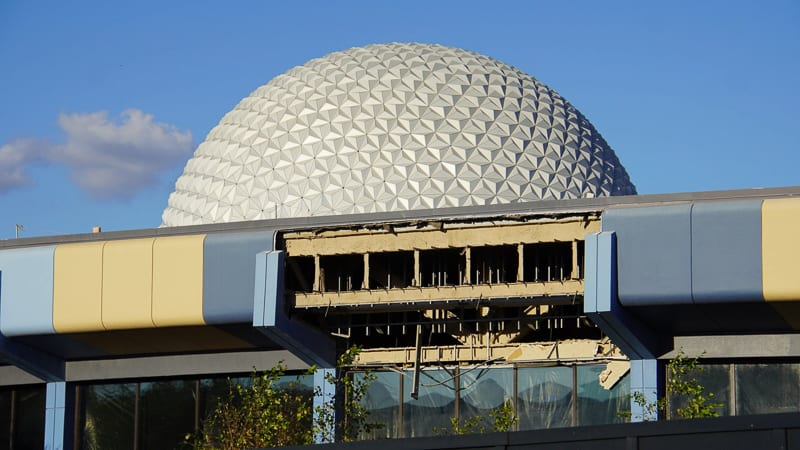 Spaceship Earth behind the Innoventions Demolition Epcot Future World Construction Update December 2019