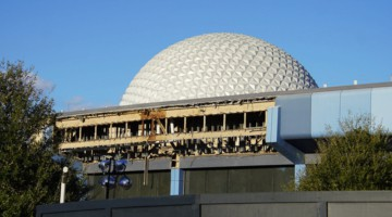 Innoventions demolition in Epcot Future World with Spaceship Earth behind