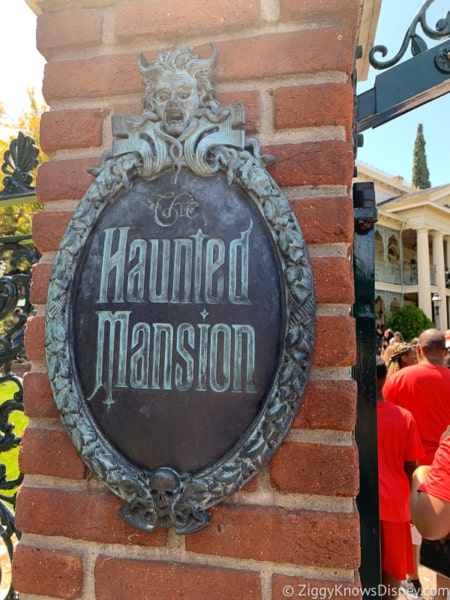 Haunted Mansion sign outside in Disneyland
