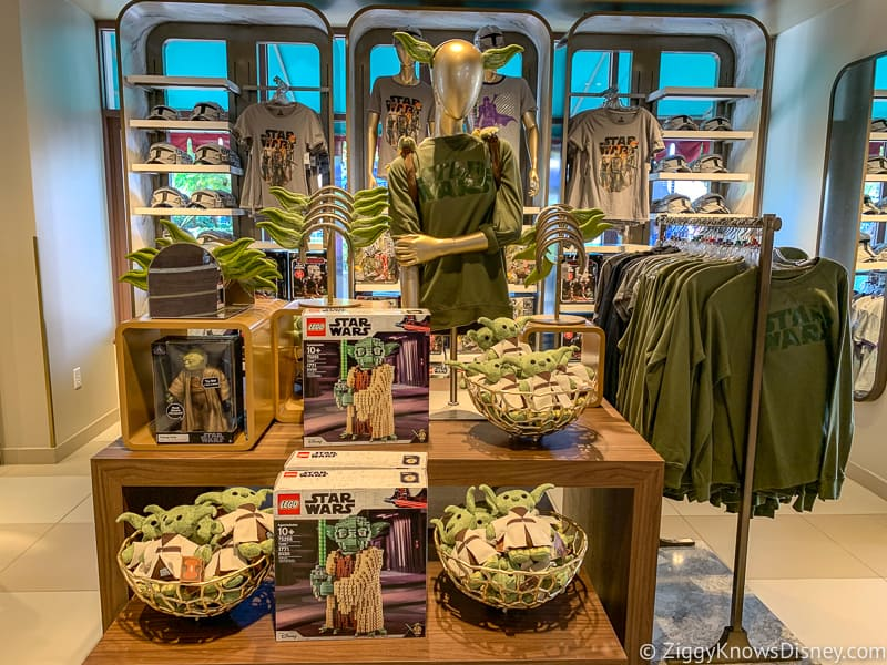 New Yoda merchandise display in Hollywood Studios with t-shirts, plushes and legos