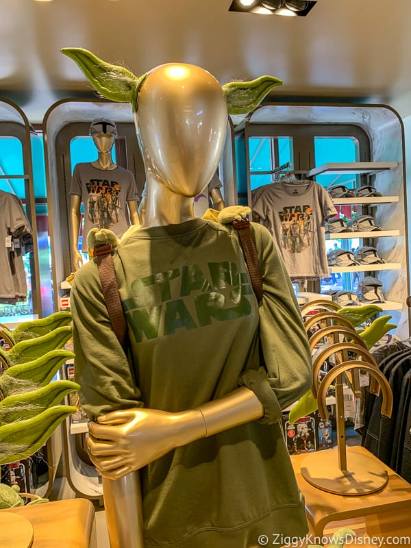 New Yoda ears and shirt merchandise display in Hollywood Studios
