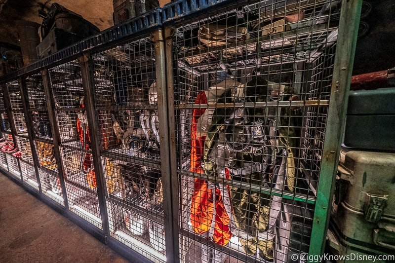 Star Wars: Rise of the Resistance queue cage of flight suits