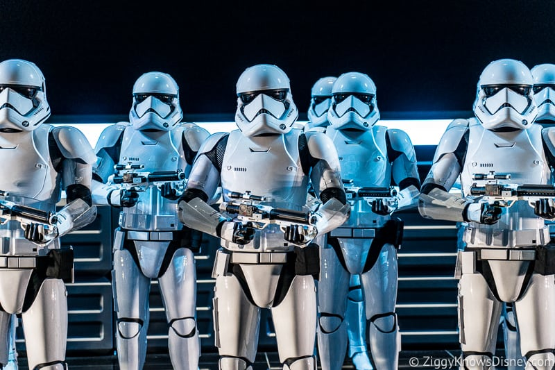 Star Wars: Rise of the Resistance stormtroopers in row
