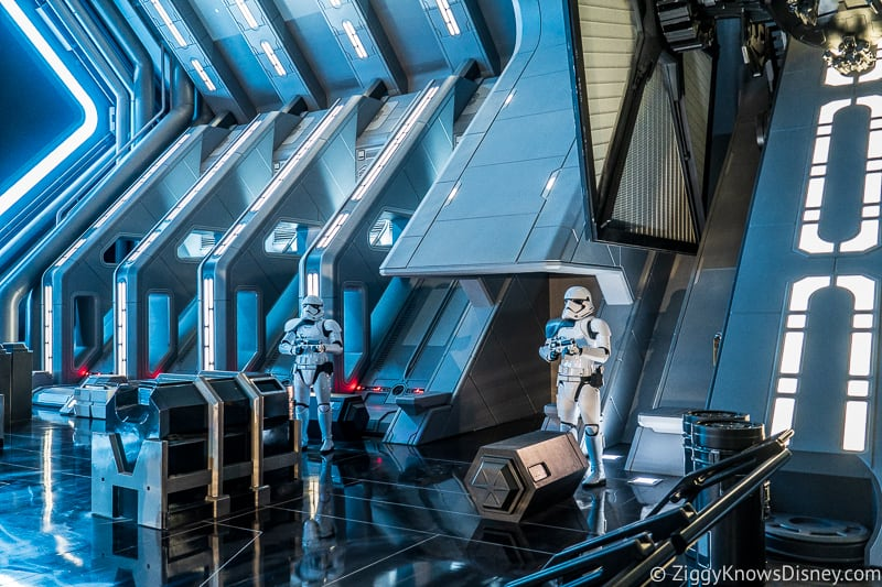 stormtroopers in hanger bay of Star Wars: Rise of the Resistance