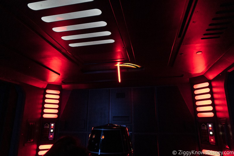 Star Wars: Rise of the Resistance lightsaber in ceiling