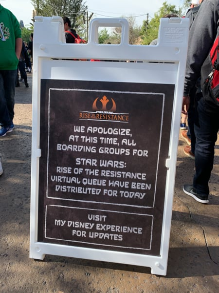Boarding Groups unavailable sign Rise of the Resistance