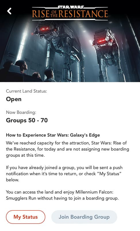 Virtual Queue Boarding Group Status Rise of the Resistance