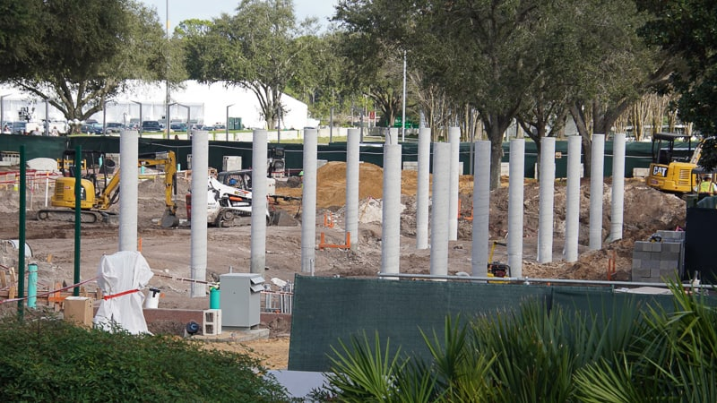 Epcot Entrance Construction Updates January 2020 columns at East side bag check