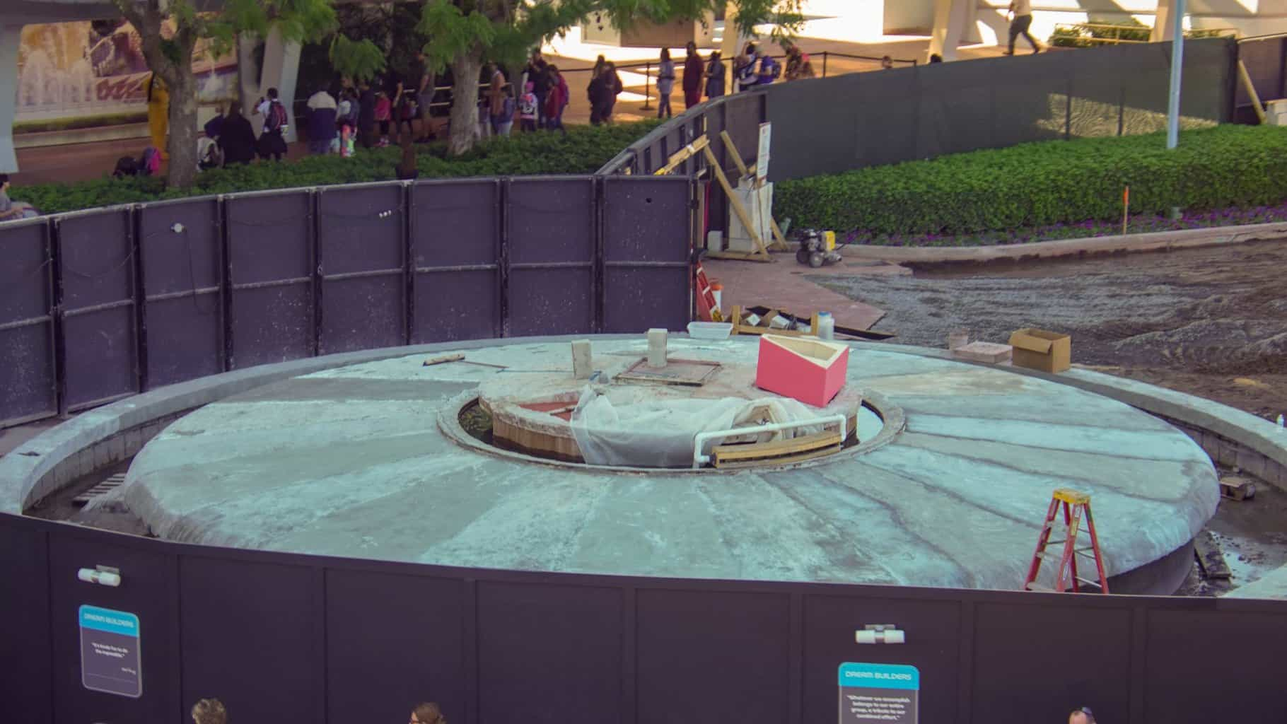 triangle forms for Epcot Fountain Epcot Entrance Construction Updates January 2020