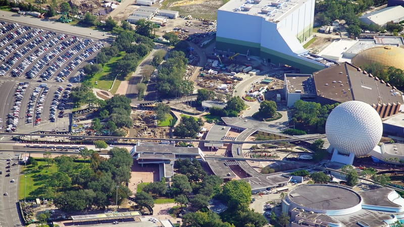 Epcot Entrance Construction Updates January 2020 high aerial photo