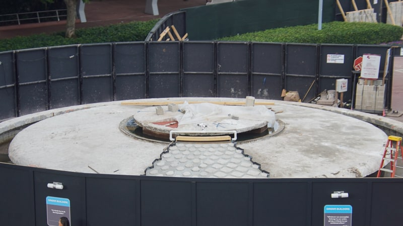 Epcot Entrance Construction Updates January 2020 fountain with cascading stones