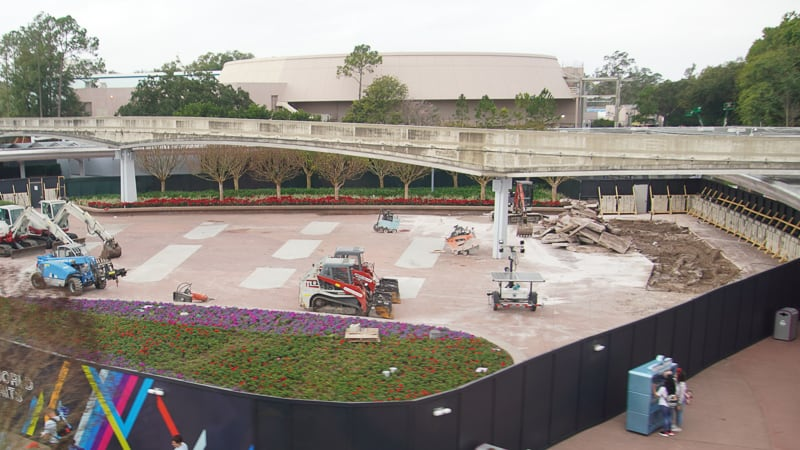 Epcot Entrance Construction Updates January 2020 tearing up pavement on West side plaza