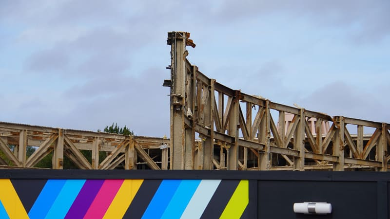 Epcot Future World Construction Updates January 2020 steel frame close behind walls