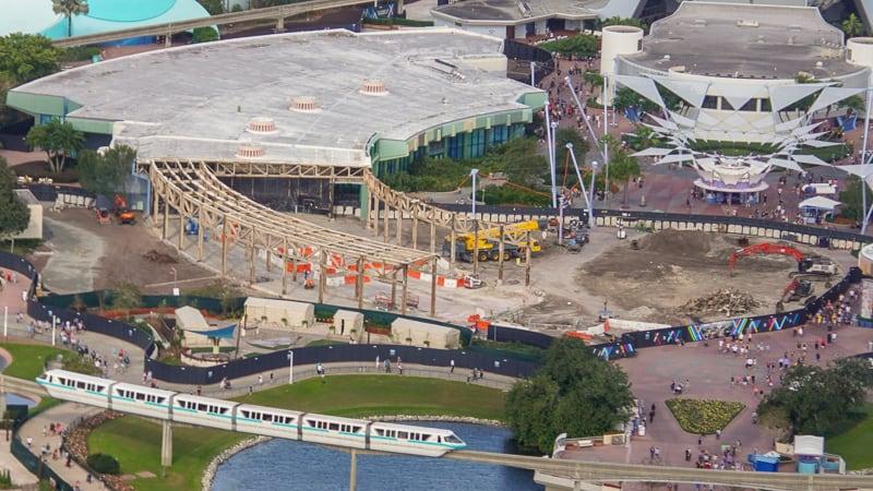 Epcot Future World Construction Updates January 2020 Aerial half demolished