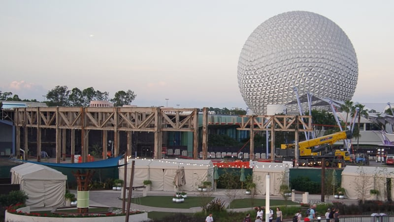 Epcot Future World Construction Updates January 2020 innoventions demolition with Spaceship Earth
