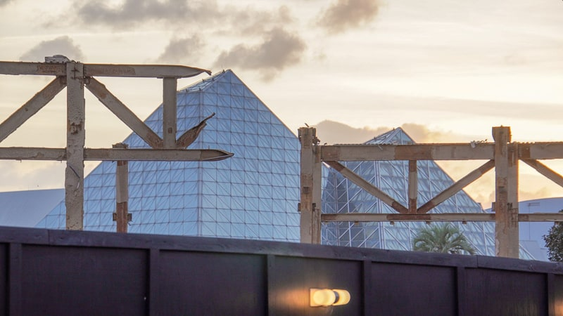 Epcot Future World Construction Updates January 2020 inventions column sunset