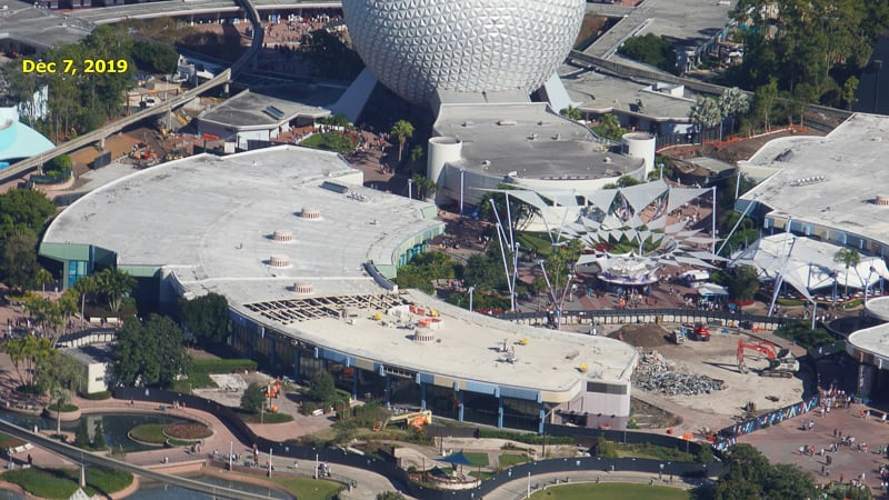 Epcot Future World Construction Updates January 2020 Innoventions West Demolition Timeline Dec 7