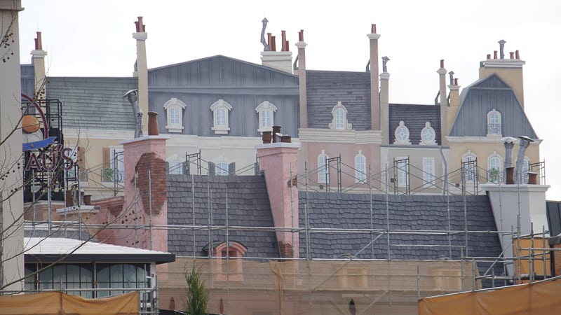 scrims taken down France pavilion construction update January 2020