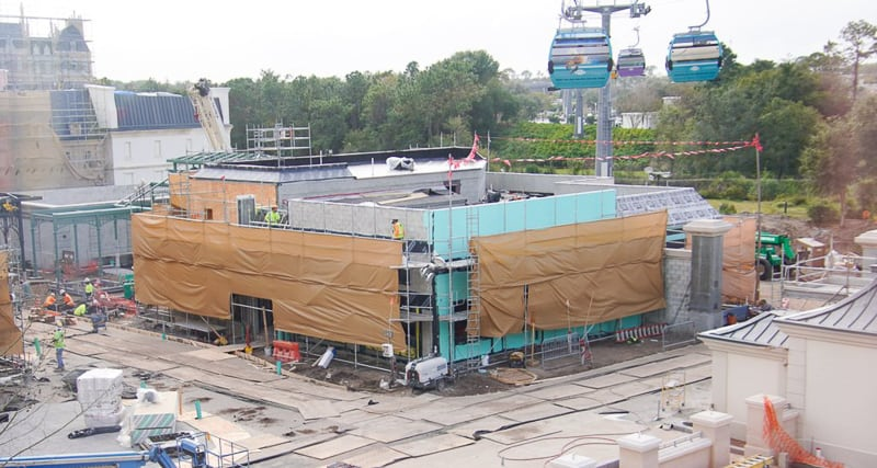 current status of one of the buildings in France pavilion construction update January 2020 crepes restaurant