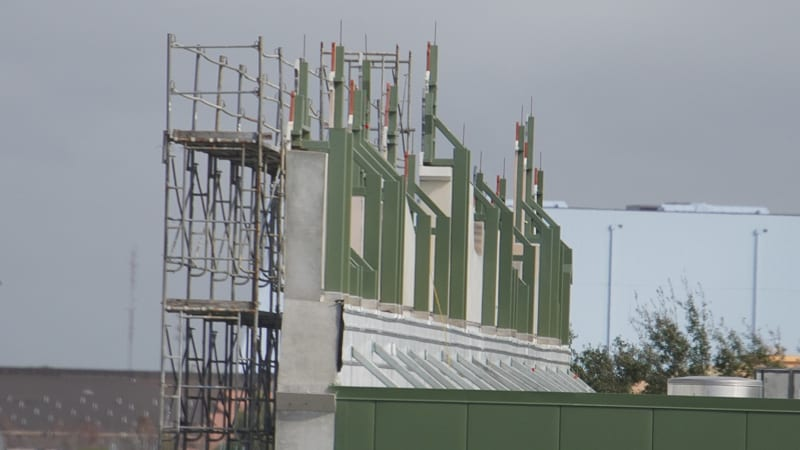 The backdrop in back of France pavilion construction update January 2020