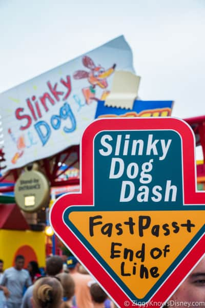 sign for Slinky Dog Dash FastPass in Toy Story Land