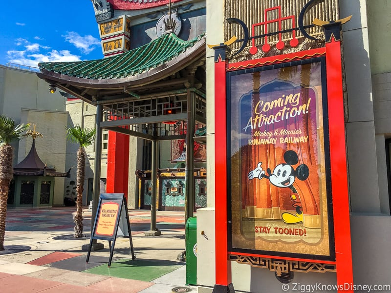 Mickey and Minnie's Runaway Railway sign outside Chinese Theater