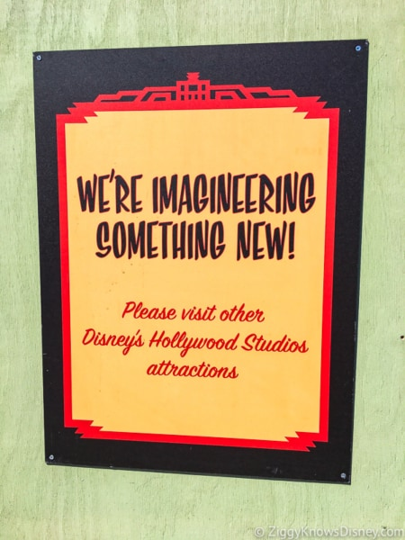 Mickey and Minnie's Runaway Railway sign outside