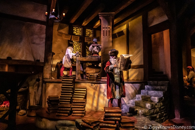 Spaceship Earth attraction printing scene Gutenberg