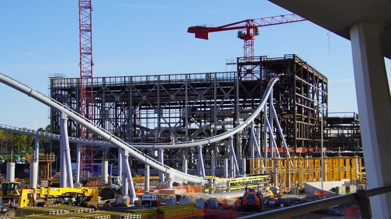 TRON Coaster Construction Update January 2020 track and show building