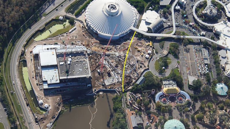 TRON Coaster Construction Update January 2020 aerial showing train route