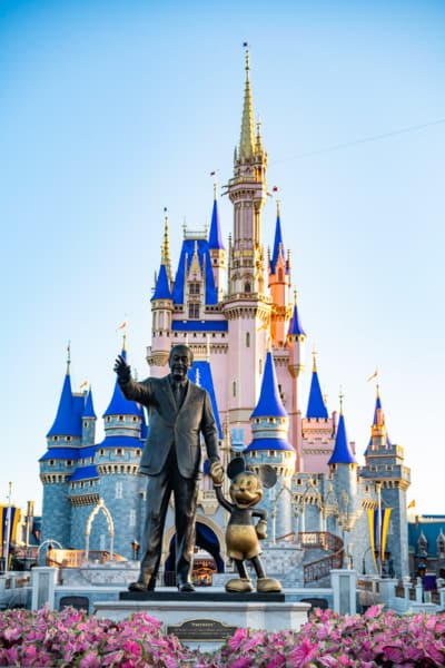 the Front of Cinderella Castle after refurb with Partners Statue