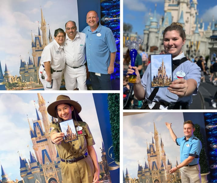 cast members with Cinderella Castle Disney's Magic Kingdom concept art