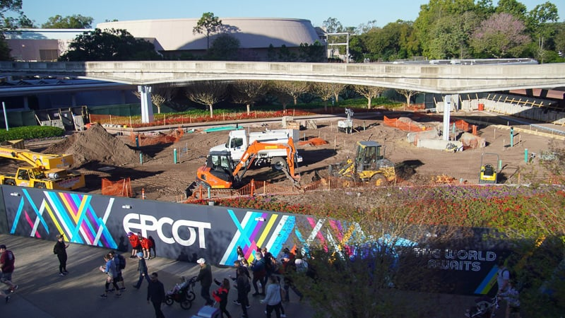 Epcot Entrance Construction Updates February 2020 preparing the pavement