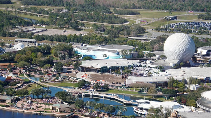 Epcot Future World Construction Updates February 2020 aerial of the park