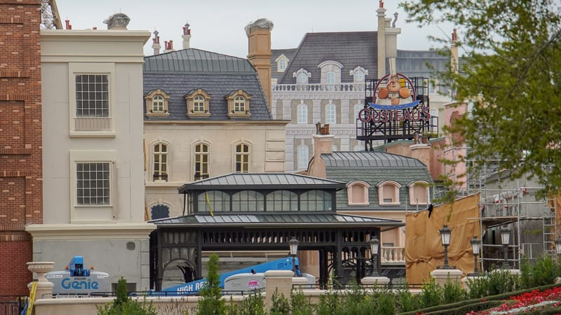 France pavilion construction update February 2020 view of the Ratatouille queue and buildings