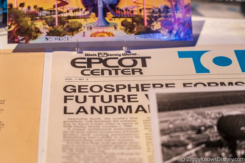 Old Newspaper of Spaceship Earth in Epcot