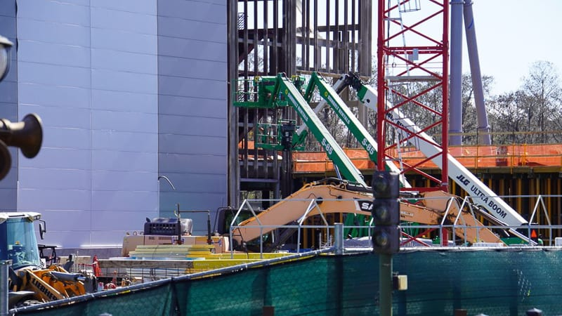 Tron Roller Coaster construction update February 2020 boom lifts